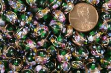 "50 Translucent Emerald ""Wedding Cake"" Lampwork Glass Beads"