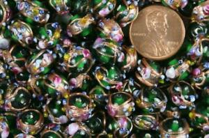 "50 Translucent Emerald ""Wedding Cake"" Lampwork Glass Beads"