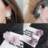 Women Petals Acrylic Crystal White Camellia Flower Stud Earrings Charm Jewelry--