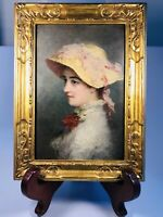 "Antique Circa 1900 American Oil on Panel Portrait of Young Lady Signed 9"" x 12"""