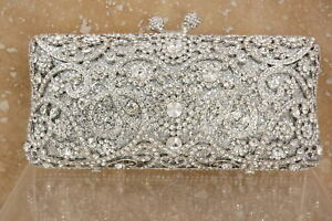 Evening luxury bling crystal clutch purse bag Bridal Rose Gold Silver 6 colors