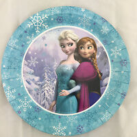 8x Disney Frozen Party Anna Elsa Round Dinner Paper Plates Disposable Party Supp