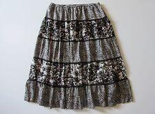 Chico's Animal Print Silk Rayon Velvet Burnout Tiered Peasant Maxi Skirt 3 L 16