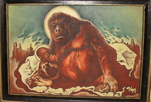 Surrealist religious oil painting breastfeeding monkey orangutan apes signed
