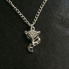 Rhinestone Fox Necklace Silver Plated