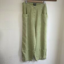 OSKA Trousers Size 3 100% Linen Green Balloon Pockets Lagenlook Arty
