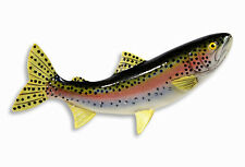 """Hand Painted 10"""" Rainbow Trout Game Fish Statue Figurine Sculpture 405B"""
