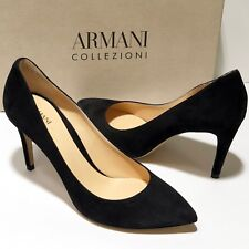 $695 Armani Women Black Suede Leather 6.5 36.5 Pointed Toe Stiletto Heels Pumps