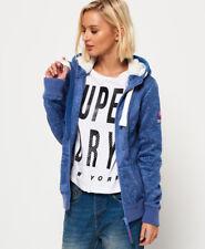 New Womens Superdry Storm Zip Hoodie Blue Marl