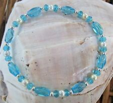 """Ankle Bracelet, 10"""", Blue crystals, faux Pearls  .8mm Heavy stretch cord."""