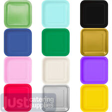 "Square and Round Party Paper Plates Solid Colours 7"" & 9"" Tableware Catering"