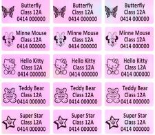 120 Pink Rainbow Personalised Customised Name Stickers Vinyl Tag Label 3.0X1.5CM