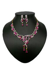Simulated Cubic Zirconia Designer Red Floral Wedding Necklace Set 422 0N 109