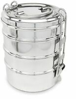4 Tier Stainless Steel Lunch Box Indian Wire Round Food Container Carrier Set