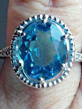10K GOLD 4.16 CARAT BLUE TOPAZ & NATUAL DIAMOND  RING  $ 1100