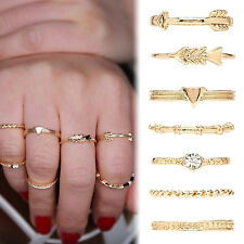 7PCS/Set  Vintage Gold Silver Carved Crystal Moon Midi Knuckle Ring New