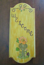 Vintage Hand Carved Painted Floral Mouse Wood Welcome Plaque Decor Panels