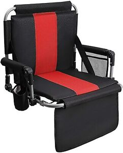 Portable Folding Stadium Seat Chair for with Back Armrest Cushion Black Red