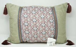 Croscill Blythe 20 x 14 Boudoir Embroidered Floral Tassel Decorative Pillow Sage