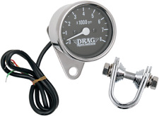 """Drag Specialties 8000 rpm Chrome Black Face 2.4"""" Electronic Tachometer Harley"""