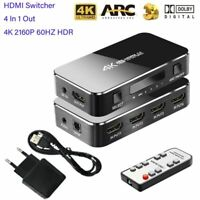HDMI Switcher 4K 2160P 60HZ HDR 3.5mm jack ARC IR For HDTV Projector Splitter
