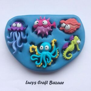 Silicone Mould Under the Sea creatures Jellyfish Seahorse Octopus Cupcake Topper