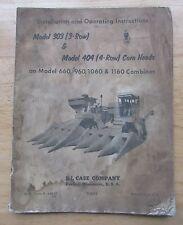 Case Model 303 & 404 Combine Corn Head Operators Setup Repair Manual 3 or 4 Row