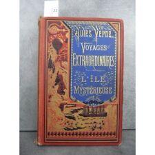 Hetzel Jules Verne l'ile mysterieuse cartonnage bannière bleue Voyages extraordi