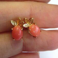 Natural Salmon Coral Untreated 14K Gold Post Earring Studs