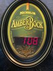 """Michelob Amber Bock Oval Light Up Bar Sign Clock WORKING 21"""" x 16"""" Man Cave"""
