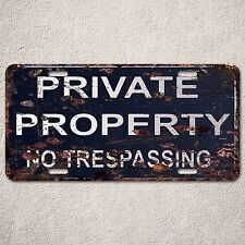 LP0094 Private Property Sign Auto License Plate Rust Vintage Home Store Decor