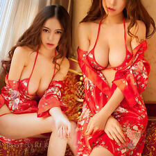 Erotic Women Sexy Lingerie Set Japanese Kimono Costume Cloth with Bra and Thongs