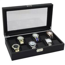 Carbon Fiber Watch Case 12 Slot Watch Box Glass Window Travel Storage Black