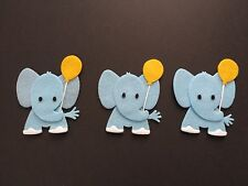 Handmade 3 blue elephant Embellishments.Die cuts with a yellow balloon