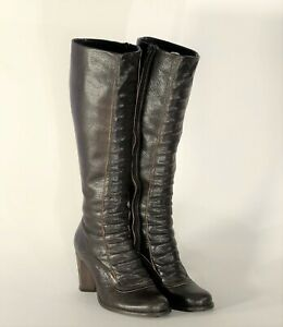Vintage 1970s style brown leather high heeled boots with real wood heels size 5