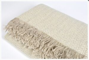 Linen Bed Throw Blanket Bedding Linens Home Decor (49 x 71 in ), ECO, NEW