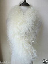 free shipping real whole lamb fur scarf with clip/cream-coloured