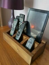 Wooden TV Remote Control Tablet Holder Organiser 4 Compartments med wood stain