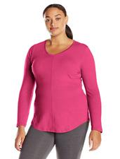 New Just My Size 3X  Cotton Blend Center Seam L/S V Neck Tee Top Jazzberry Heath