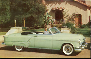 1950s OLDSMOBILE 98 CONVERTIBLE COUPE POSTCARD - RAHWAY, NJ DEALER