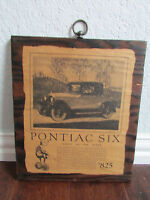 "Vintage Advertisement Pontiac Six Wood Wall Hanging Sign ""Coach or Coupe"""