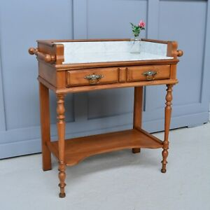 French Marble Topped Vintage Antique Freestanding Washstand / Bathroom Bedroom