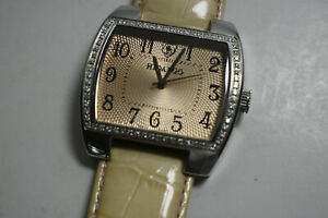 Stunning Hidalgo Ladies SS Diamond Watch Tan Strap & Guilloche Face, w/ Box RARE