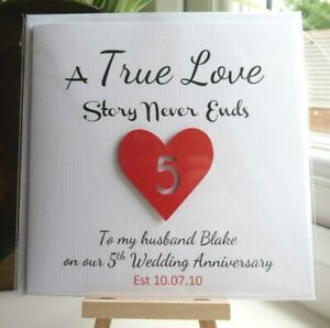 Personalised Wedding Anniversary Card ANY YEAR Husband Wife Boyfriend Girlfriend