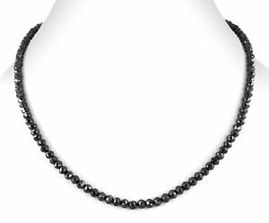 4 mm Black Diamond Beads Single row Necklace AAA Quality 20 Inch Certifed