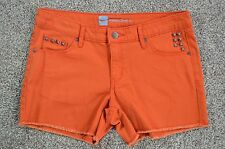 Mossimo Women's Orange Studded Cut-Off Fringed Mid Waist Denim Jean Shorts sz 12
