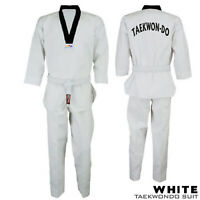 Taekwondo GI Suit Adult & Kids WT Style Black Collar Light Fighter Uniform