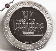 $5 FULL PROOF STERLING SILVER SLOT TOKEN TROPICANA CASINO 1967 FM LAS VEGAS COIN