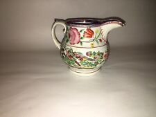 Staffordshire Pearlware Pink Luster Pitcher With Enamel Decorated Birds Ca. 1820
