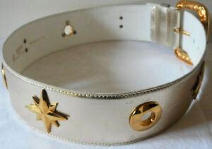 ESCADA Vintage 1980s Belt 12 42 Leather Metallic Gold Stars Circles Charms Metal